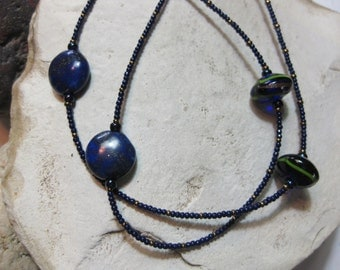 Lapis lazuli and hand crafted glass bead necklace