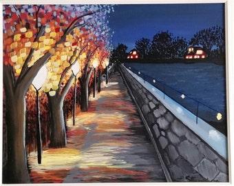 Lamp Lit Walking Bridge