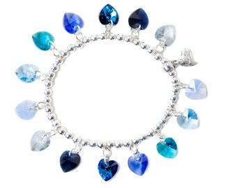 Blues Candy Hearts Sterling Silver & SWAROVSKI crystal Charm Bracelet
