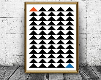 Geometric Triangles Wall Decor,  Modern Abstract Geometric Art Prints, Minimalist Black and White Wall Print, Wall Art Poster, Modern Prints