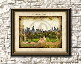 Melbourne Australia Printable Art,Melbourne Wall Art,Melbourne Cityscape,Melbourne Art Print,Melbourne Skyline,Instant Download,Watercolor,