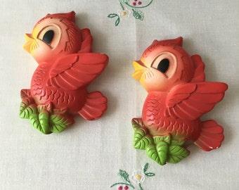 Vintage Chalkware Cheerful Red Birds