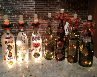 Halloween and Fall lighted bottles