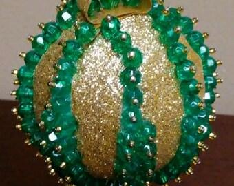 Christmas Ornament - Green & Gold