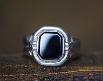 Black Gemstone Silver 925 Vintage Solitaire Ring, US Size 10.5, Used
