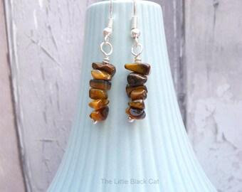 Tigers Eye Earrings, Brown Earrings, Dangly Earrings, Gemstone Earrings, Tiger Iron, semi precious, womens gift, ladies present, birthday