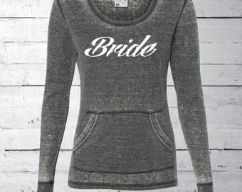 Thermal Long Sleeve T-Shirt, bride shirt, custom wedding shirt, bridesmaid gift