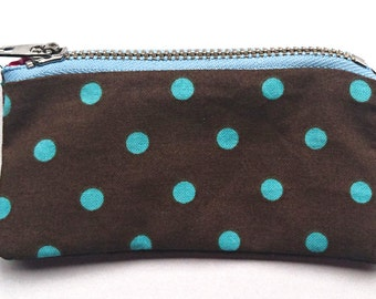 Fully lined polka dot coin purse- blue and brown