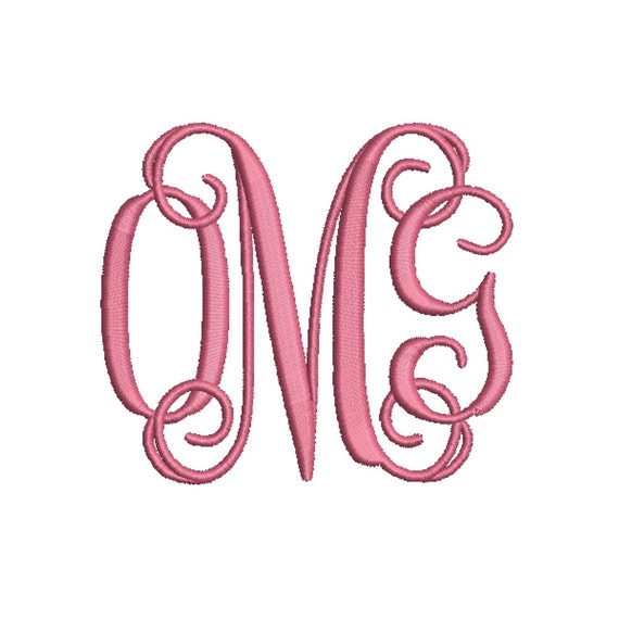 Vine monogram embroidery fonts size by