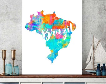 brazil map brazil printable map wall art decor watercolor map print brazilian