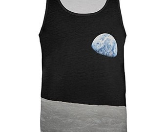 Earth Rising Over The Moon All Over Adult Tank Top