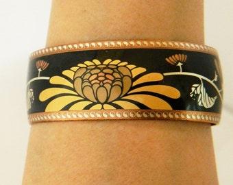 Franklin Mint, Bracelet of the Golden Blossoms, Chrysanthemum, 24k Gold Inlay, Copper Plated, Bangle Bracelet, Vintage Costume Jewelry