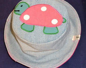 Tortoise Sun hat,  beach Sun hat, Tortoise hat, denim hat, Animal Sun hat, Wildlife sun hat, festival hat, Bucket hat, sun hat