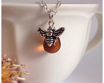 Honeybee Necklace, Silver, Honeybee Pendant, Honey Bee Necklace, Bee Charm, Bee Jewellery, Honey, Bumblebee Necklace, Ella Rose, Bee Penda