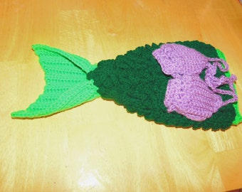 Crocodile stitch mermaid tail with shell top