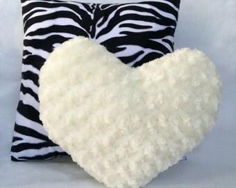 Decorative Pillow Set 16x16 in. Faux Fur Zesty Zebra and 13x15 in. Faux Fur Heart Simply Vanilla
