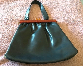 Vtg 60s/70s Navy Faux Leather Bakelite Single Top Handle Purse