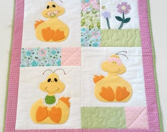 Ducky Baby Quilt, Baby Quilt for Sale, Baby Playmat, Baby Play Mat, Changing Pad, Applique Baby Quilt, Baby Quilt Girl, Handmade Quilt