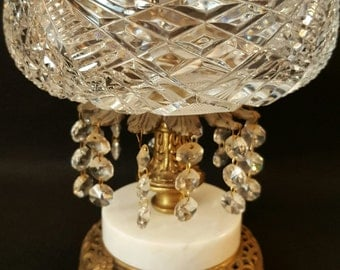 vintage crystal candy dish, brass and crystal, candy dish