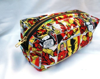 Toiletry Bag - Comic Book Iron Man - Team Iron Man- Groomsman Gift- School Supplies - Pencil and Electronics case- Valentine's Day Gift