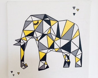 table child geometric elephant blue, yellow and grey