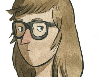 Girl with glasses - watercolor illustration - art print 5x7