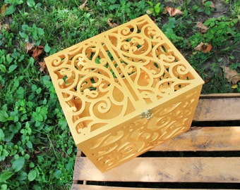 Gold Wedding Card Box BIG SIZE-Wedding Gift-Plywood box-Keepsake Box-Wedding money box-Wedding card money holder-Card Holder-Candy box