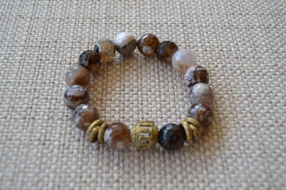 Brown and Cream Fire Agate Stretch Bead Bracelet with African Brass Beads
