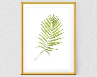 Botanical print, Green leaf print, Printable watercolor wall art,