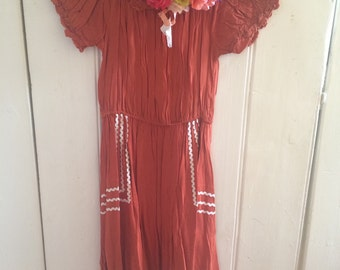 Orange and lace/patterned folk boho dress
