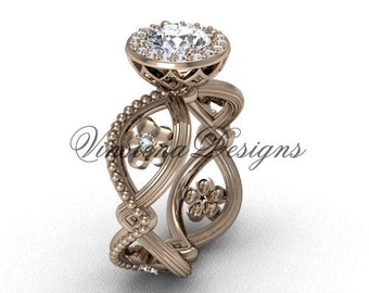14kt rose gold flower engagement ring VF301014