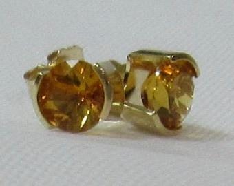 5mm Round Citrine Gemstones set in 14K solid Gold Earrings