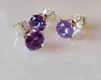 Trio of Amethysts set in Sterling Silver Post Earrings