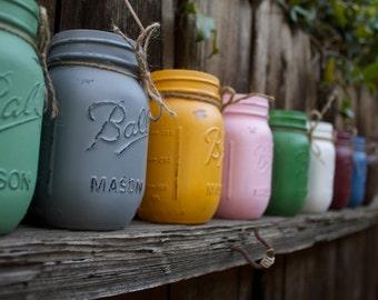 Painted Ball Mason Jars- Rustic Home Decor- Vintage looking Painted Mason Jars- Rustic Wedding Decor