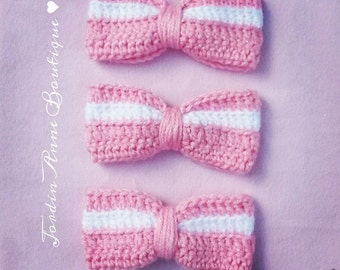 Crochet Pink and White Bow