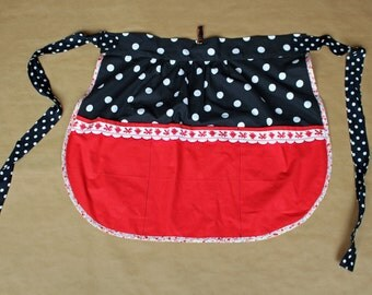 Red and black half apron with polka dots, red & black apron with white dots