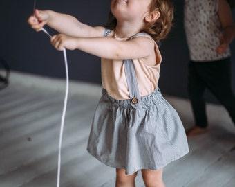 Girl skirt Toddler skirt Little girl skirt Skirt with suspenders Girl skirt with suspenders Girl everyday skirt Baby girl skirt with straps