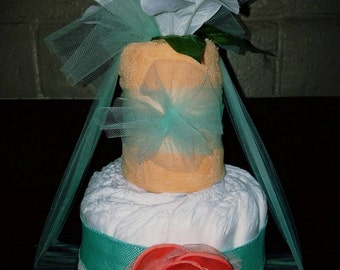 Baby Shower Centerpiece Diaper Cake. Hospital Welcome Baby Gift. Baby Towel Diaper Cake.