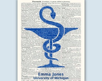 "Pharmacist Gift, Pharmacy Graduation, Pharmacy Art, Personalized Pharmacist Print, Pharmacy student, ""Pharmacist"" Dictionary antiqued page"