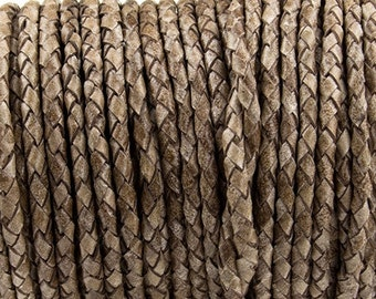 """4mm Top Quality  Round Braided leather cord.  Brown Beige- (Qty. - 1M/39.4"""") - 17827"""