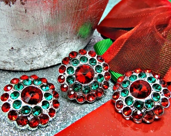 Dark Red And Green Rhinestone Buttons Acrylic Rhinestone Buttons Garment Rhinestone Buttons Coat Buttons Sewing Buttons 24mm 3190 28 6 28R