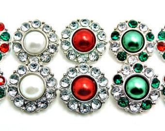 Christmas Red & Green Pearl Rhinestone Button W/ Surrounding Acrylic Rhinestones Embellishments Garment Wedding Coat Buttons  25mm 2997