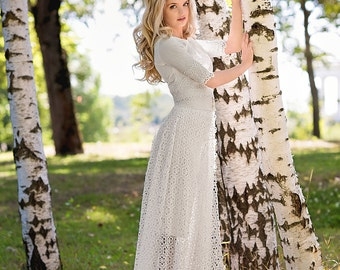 Anna / Rustic wedding dress / 2-in-1 wedding dress