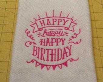 HAPPY BIRTHDAY Williams Sonoma Embroidered Kitchen Hand Towel, XL Made in Turkey