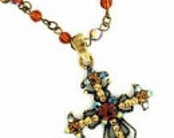 Vintage Inspired Victorian Style Austrian Crystal Cross Necklace