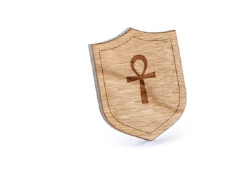 Ankh Lapel Pin, Wooden Pin, Wooden Lapel, Gift For Him or Her, Wedding Gifts, Groomsman Gifts, and Personalized