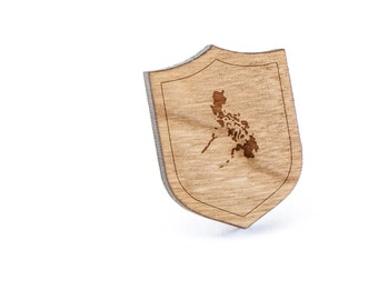Philippines Lapel Pin, Wooden Pin, Wooden Lapel, Gift For Him or Her, Wedding Gifts, Groomsman Gifts, and Personalized