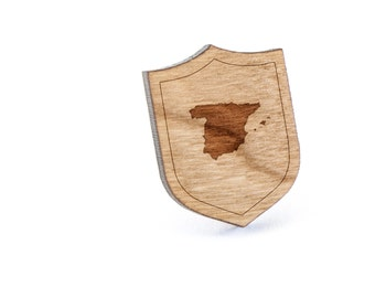 Spain Lapel Pin, Wooden Pin, Wooden Lapel, Gift For Him or Her, Wedding Gifts, Groomsman Gifts, and Personalized