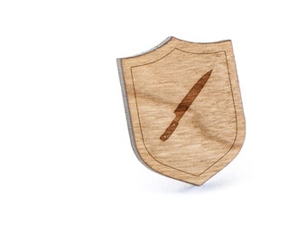Chefs Knife Lapel Pin, Wooden Pin, Wooden Lapel, Gift For Him or Her, Wedding Gifts, Groomsman Gifts, and Personalized