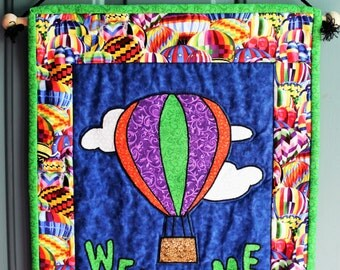 Hot Air Balloon Welcome Sign, Welcome Sign, Front Door Welcome Sign, Hot Air Balloon Quilt